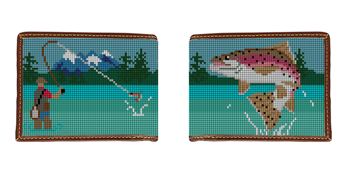 Fly Fishing Landscape Needlepoint Wallet
