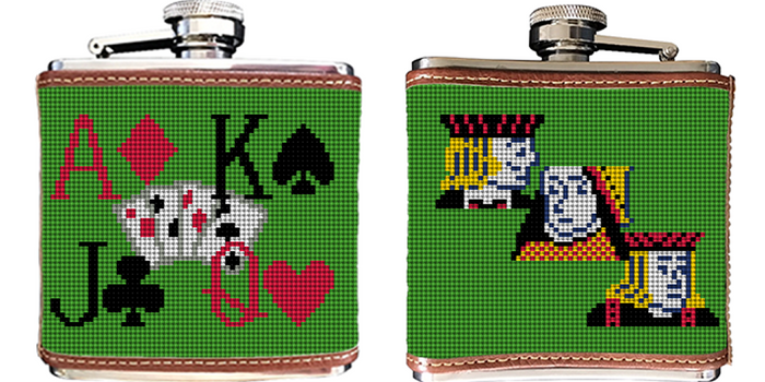 Poker Needlepoint Flask