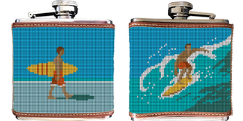 Surfing Needlepoint Flask