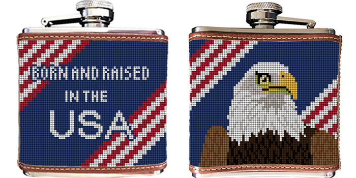 Eagle Needlepoint Flask
