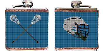 Lacrosse Needlepoint Flask