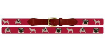Preppy Pug Needlepoint Belt