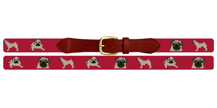 Preppy Pug Needlepoint Belt