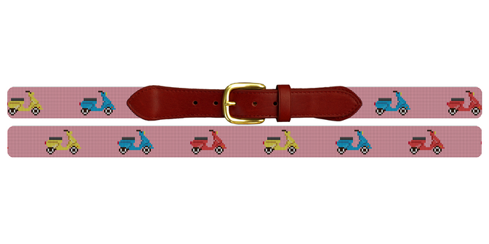 Preppy Scooter Needlepoint Belt