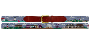 Nantucket Island Needlepoint Belt