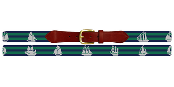 Tall Ships Needlepoint Belt