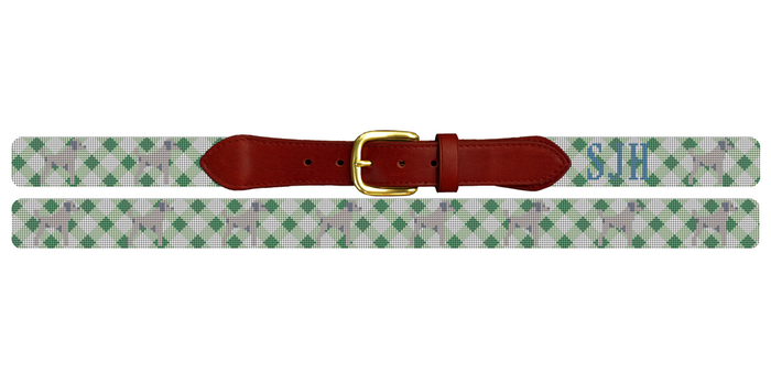 Gingham and Preppy Dog Needlepoint Belt