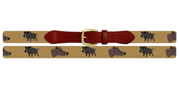 Wild Boar Needlepoint Belt