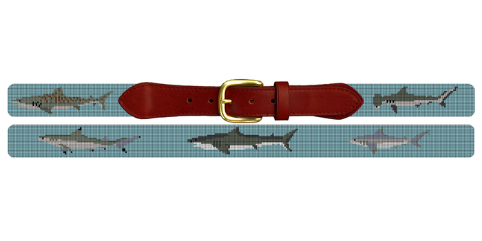 Shark Needlepoint Belt