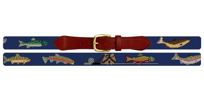 Trout Fishing Needlepoint Belt