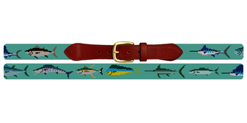 Tropical Game Fish Needlepoint Belt