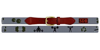 Weight Lifting Needlepoint Belt