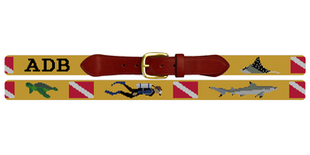 Scuba Diving Needlepoint Belt