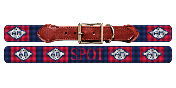 Arkansas Flag Needlepoint Dog Collar