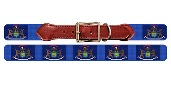 Michigan Flag Needlepoint Dog Collar