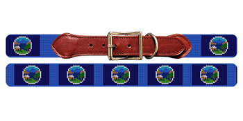 Nebraska Flag Needlepoint Dog Collar