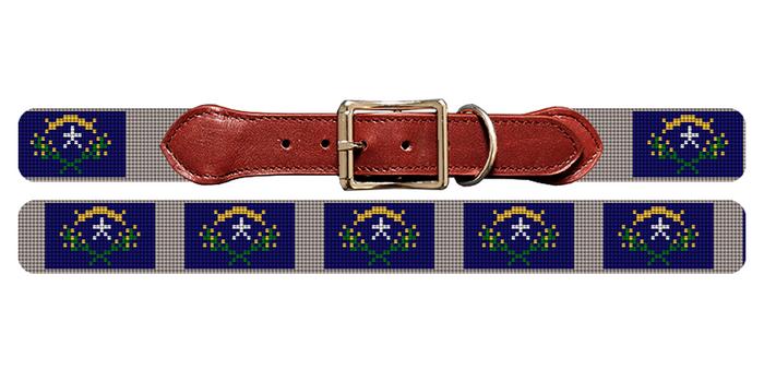 Nevada Flag Needlepoint Dog Collar