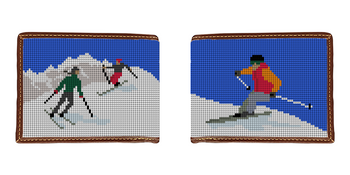 Skiing Needlepoint Wallet