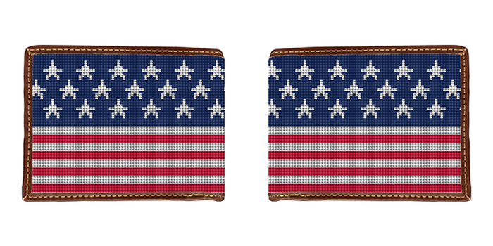 American Flag Needlepoint Wallet