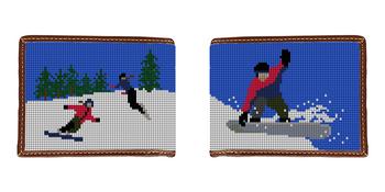 Snowboarding Needlepoint Wallet
