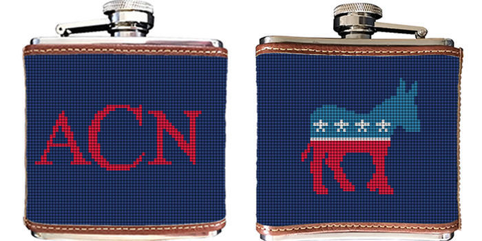 Democratic Needlepoint Flask