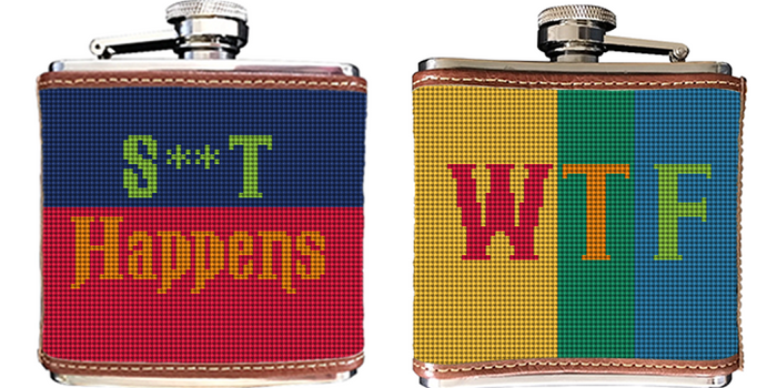 WTF Color Needlepoint Flask