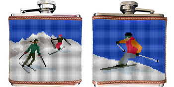 Skiing Needlepoint Flask
