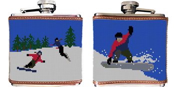 Snowboarding Needlepoint Flask