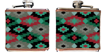 Aztec Needlepoint Flask