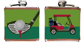 Golf Needlepoint Flask