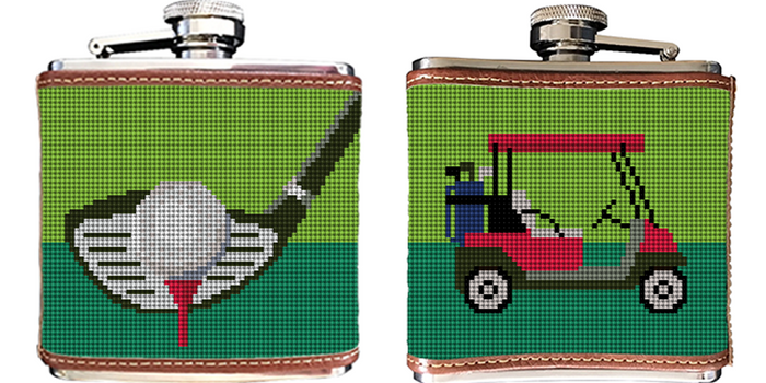 Golf Needlepoint Flask