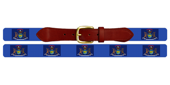 Michigan Flag Needlepoint Belt