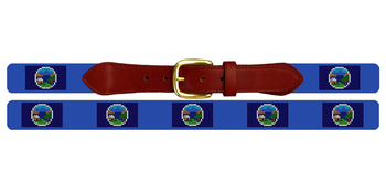 Nebraska Flag Needlepoint Belt