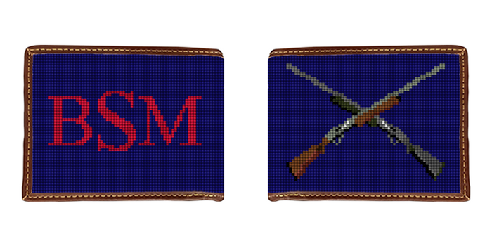 Crossed Shotguns Needlepoint Wallet