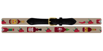 Hot Sauce Needlepoint Belt