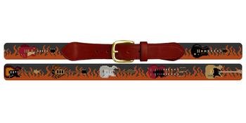Rock and Roll Guitars Needlepoint Belt