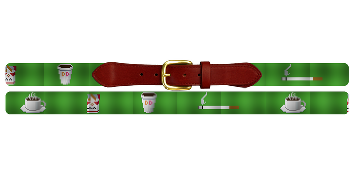 Cigarettes and Coffee Needlepoint Belt