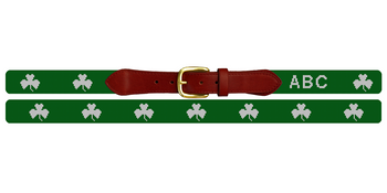 Lucky Irish Clover Needlepoint Belt