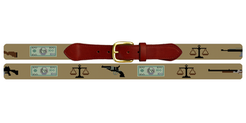 Send Lawyers, Guns and Money Needlepoint Belt