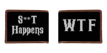 WTF Black & White Needlepoint Wallet