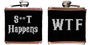 WTF Black & White Needlepoint Flask