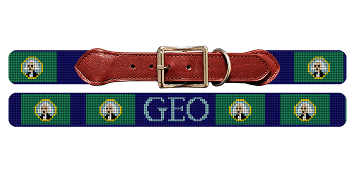 Washington Flag Needlepoint Dog Collar