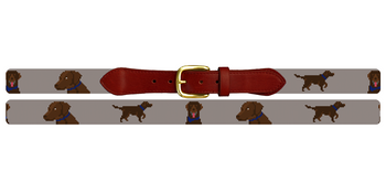 Chocolate Lab Needlepoint Belt