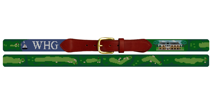 Woods Hole Golf Course Needlepoint Belt