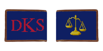 Scales of Justice Needlepoint Wallet