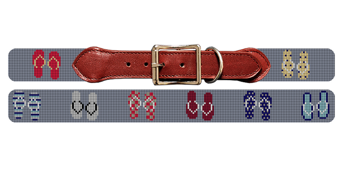 Flip Flops Needlepoint Dog Collar
