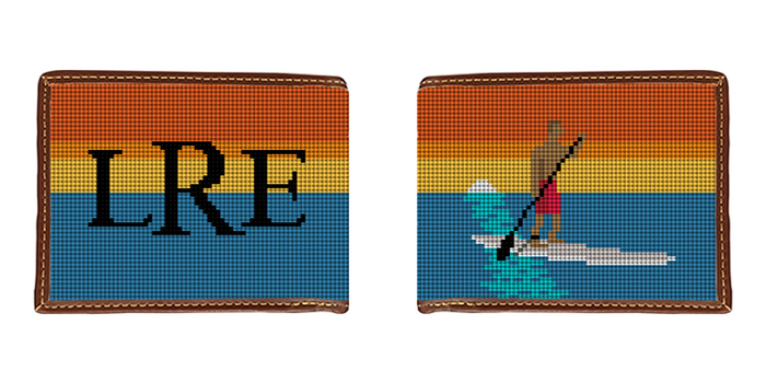 Stand Up Paddling Needlepoint Wallet
