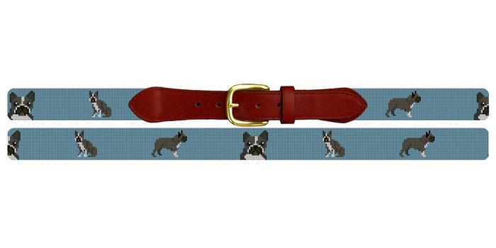 Boston Terrier Needlepoint Belt