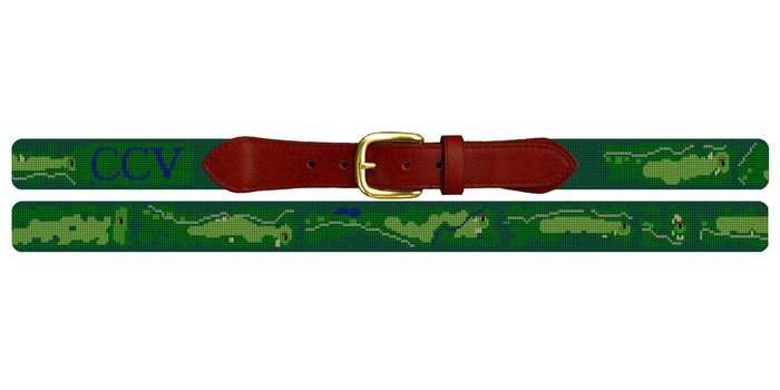 Country Club of Virginia Golf Course Needlepoint Belt