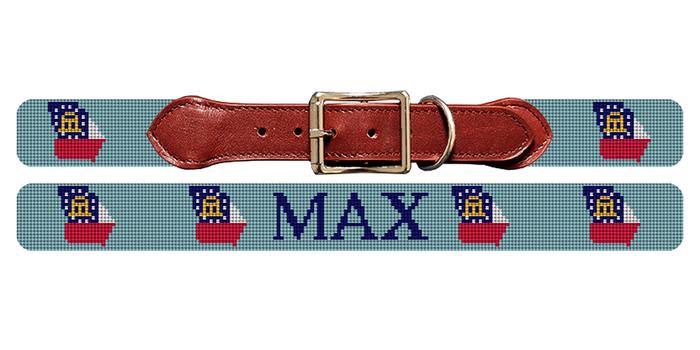 Georgia State Needlepoint Dog Collar